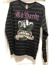 NWT ED HARDY Black Peace, Love, & Tattoos Eagle Mens L Long Sleeve T-Shirt USA