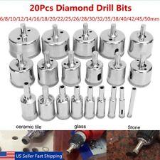 20 Pcs 6-50mm Diamond tool drill bit hole saw set glass ceramic marble tile US