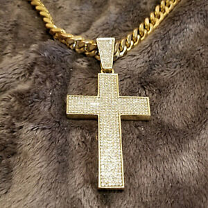 """Gold Chain Neclace with Cross Pendant 30"""" Chain"""