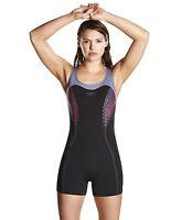 SPEEDO FIT WOMENS SWIMSUIT.LEGSUIT BLACK BUST SUPPORT SWIMMING COSTUME.7W B741