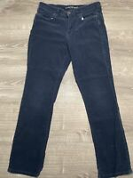Lands' End Women's Size 14 Dark Brown Mid Rise Straight Corduroy Jeans
