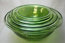 Vintage Original Hocking Glass Co. Green Five Piece Uranium Mixing Bowl Set