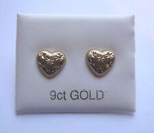 9ct Gold heart shaped diamond cut frosted stud earrings
