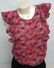 Mujeres Blusa De Hombro Rojo Multicolor Volantes, Tallas: S-L, F1022