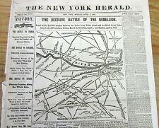 2 1865 headline display newspapers CIVIL WAR ENDING w Map of PETERSBURG Virginia