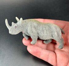 Kunstlerschutz Wagner Flocked Rhinoceros Miniature Toy Figurine Vintage