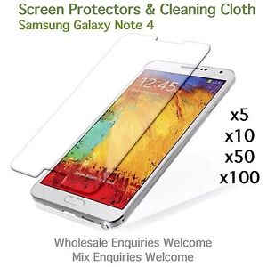 Samsung Galaxy Note 4 screen protectors and cleaning cloth wholesale job lot