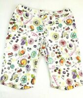 Briggs Casual Long Shorts Bermuda Sz L Floral Fruit Print Stretch White