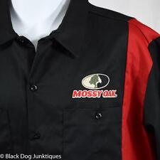 Dickies Mossy Oak Logo Work Shirt XL Black Red Two Tone Twill Short Sleeve