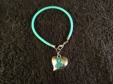 1 Teal Ovarian Cancer Bracelet with Heart Shaped Teal Ribbon Charm