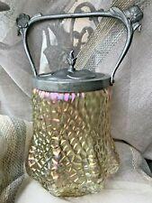 Art Nouveau Jugendstil Loetz? Iridescent Glass& Silverplate Biscuit Tea Jar/Bowl