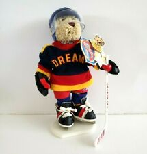 """Flash Brass Button Bears Sports Bear Hockey Player 12"""" With Stand Dream"""