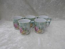 Vintage Set of 5 German Chocolate Cups - Rose/Grape Pattern