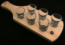 Football Set of 6 Shot Glasses with Wooden Paddle Tray Holder 136