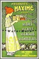 Maxime Tea Chocolates 1900 French Vintage Poster Print Retro Style Art Decor