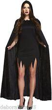 Ladies Black Velvet Hooded Cloak Vampire Cape Halloween Fancy Dress Costume