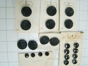 22 Vintage Black Glass Buttons on cards---NOS