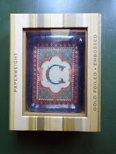 """Letter """"C"""" Gold Foiled - Embossed Paperweight ~ NIB ~ Punch Studio"""