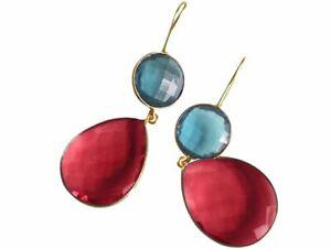 Gemshine Ohrringe Blautopas und rote Quarz Tropfen in 925 Silber oder vergoldet