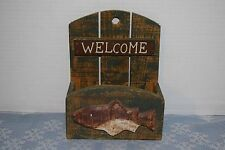 Rustic Wood Wall Mount Letter Holder Fishing Cabin Theme