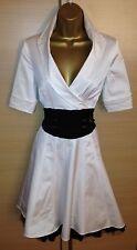 Exquisite Karen Millen Blanc rare Noir corseted shirt Plongeant Robe UK10