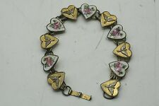 WWII Vintage - Sterling Silver Sweetheart Bracelet with Heart Charms