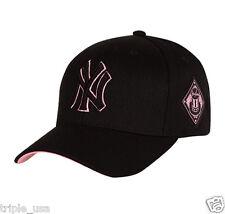 New NY Yankees Adjustable Curved Cap MLB Korea Pink Raised Embroidery Black Hat