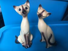 Vintage Large Ceramic Norcrest Siamese Kitty Cat Figurines