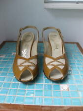 Vgc Vintage 50's 60's Gold Patent Slingback Peep Toe Shoes Pumps 7.5N