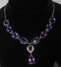 38.4 ct Amethyst Silver Gemstone Necklace