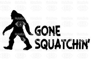 260mm Gone Sqatchin' Bigfoot 4x4 decal sticker