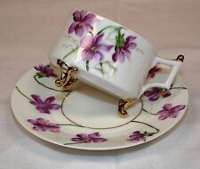 Floral Tea Cup & Saucer . Purple Periwinkle Flower . Footed . Gold Tone Trim