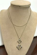 "Heidi Klum Sterling Silver 2"" Clover Necklace 30"" Long"