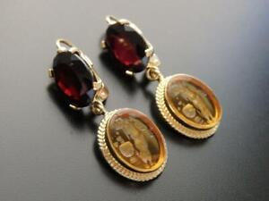 TAGLIAMONTE Earrings YGP/SS amber Venetian Intaglio+Garnet gemstone leverback