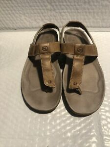 KEEN Size 8 Brown Leather Toe Sandals Almost Flat ~