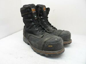 "Timberland PRO Men's 8"" Boondock Nylon 200G Work Boots Black Nylon A1VYP Size 9W"