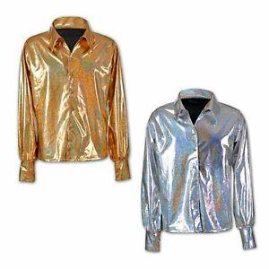 Men's 70s Shirt Silver Gold Disco Metallic Top Glam Rock Fancy Dress Costume New