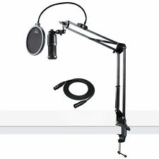 Audio-Technica AT2020 Condenser Studio Microphone with Knox Filter & Boom Arm