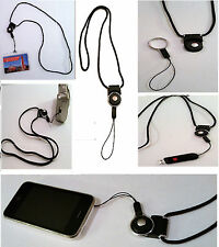 Lot 200 Detachable Ring Neck Strap Lanyard Cell Phone ID Card Camera USB BLACK