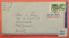 1950'S CHINA TAIWAN $2 OVERPRINT FLYING GEESE PAIR ON COVER TO USA * SCARCE