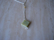 Jade Necklace Handmade Natural Gemstone and Stainless Steel finish Chain USA