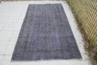 "FREE SHIPPING Vintage Handmade Turkish Oushak Overdyed Gray Area Rug 6'11""x3'10"""