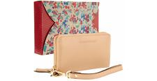 Emma & Sophia Leather Zip Phone Wristlet Wallet NEW Saddle Tan
