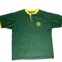 Green Bay Packers Mens Large Green Henley T-Shirt Vtg 90s Logo NFL The Edge