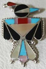 Signed Zuni Made Sterling Silver Thunderbird Inlaid Pendant / Pin