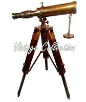 Nautical Antique Maritime Brass Telescope With Wooden Tripod Stand Decorative