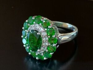 Chrome Diopside White Topaz Ring Sterling Silver Sz. 5 Estate faceted Green