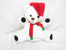 VTG WHITE TEDDY BEAR CHRISTMAS CAROLS MUSIC MUSICAL STUFFED PLUSH LIGHT UP HEART