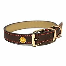 Rosewood Lux Leather Brown Dog Collar 25 - 35cm
