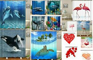 Zmum67 Turtle & Love Heart 3D - Polyester Fiber Shower Curtains Dolphin Flamingo
